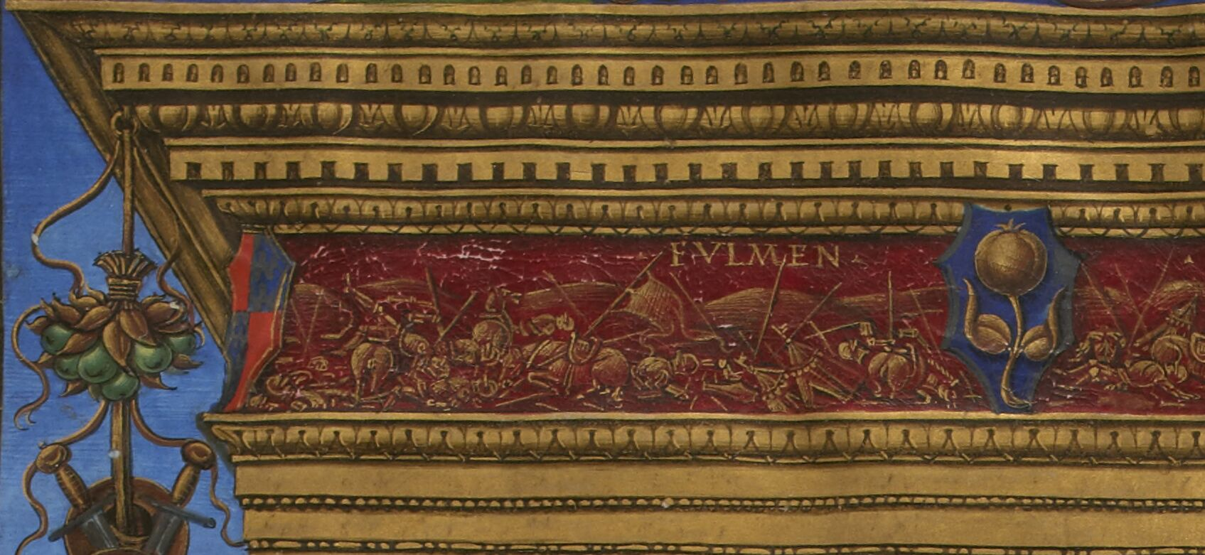 Battle Frieze in red and gold