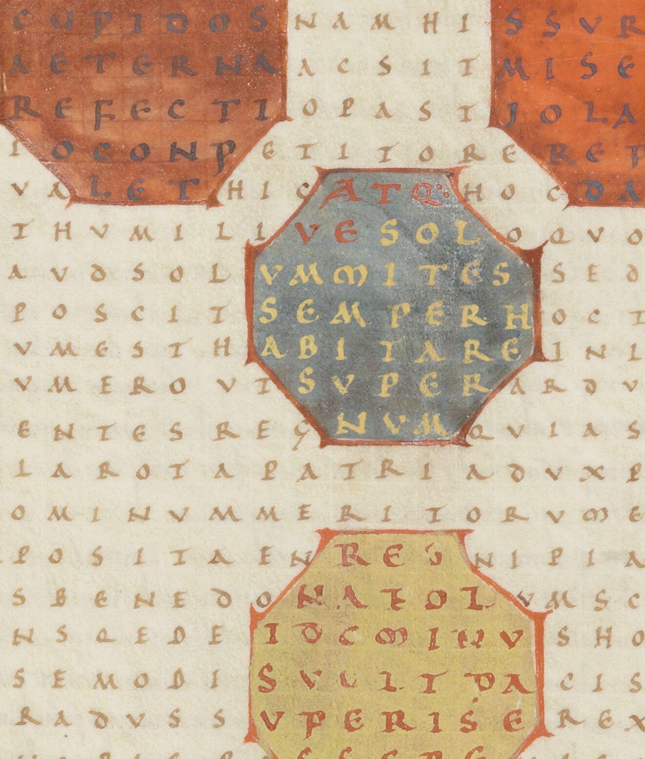 Rabanus Maurus, In honorem sanctae Crucis [De laudibus sanctae Crucis] (f. 1r-45r). — Publius Optatianus Porphyrius, Panegyricus Constantino missus (46-55).