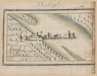 La Roche de Glun. [Vue à vol d'oiseau des ruines du château de la Roche de Glun, Drôme]