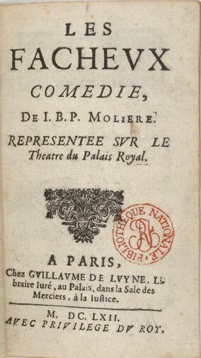 Page de titre de l'édition de 1662 des Fâcheux.