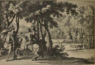 Gravure. Deux personnages à cheval dans une forêt. L'un ôte son casque et dévoile sa chevelure. Au loin, l'armée de Clovis attend.