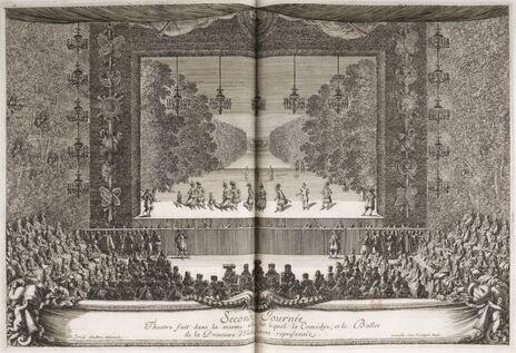 Gravure d'Israel Sylvestre. Louis XIV et sa cour devant le théâtre. La troupe de Molière joue La Princesse d'Élide.