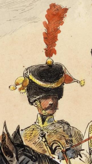 Officier compagnie d'élite 5e Hussards, 1808