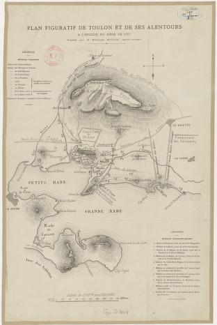 Plan figuratif de Toulon et de ses alentours à l'époque du siège de 1707 / dressé par M. Edmond Millou...